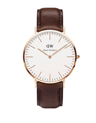 daniel wellington male classic bristol leather strap watch