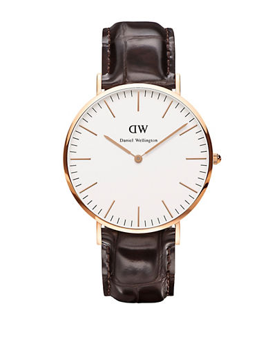daniel wellington male classic york rose gold and embossed leather strap watch 40mm