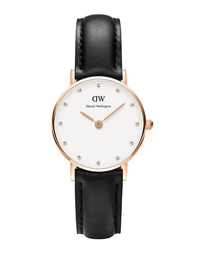daniel wellington female classy sheffield rose gold and leather strap watch 26mm