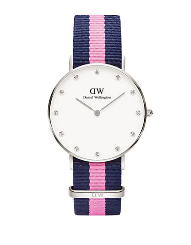 daniel wellington female classy winchester stainless steel pink nylon strap watch 36mm