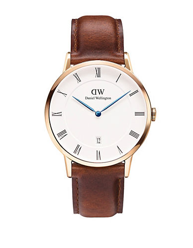 daniel wellington male dapper st mawes rose gold and leather strap watch 38mm