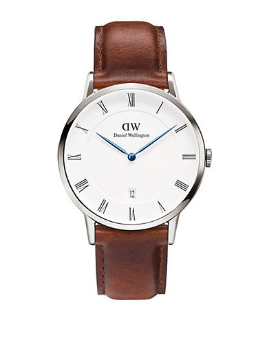daniel wellington male dapper st mawes stainless steel and leather strap watch 38mm