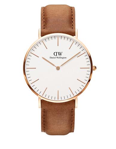 daniel wellington female classic durham rose gold and leather strap watch