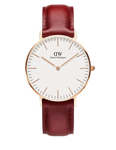 daniel wellington female classic suffolk rose gold and leather strap watch 36mm