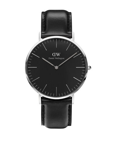 daniel wellington female crystal stainless steel leather strap watch