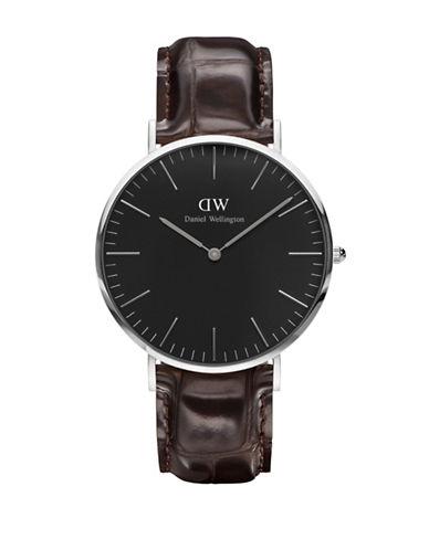daniel wellington female crystal stainless steel crocodileembossed leather strap watch