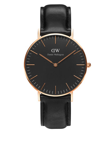 daniel wellington female crystal 18k rose goldplated leather strap watch