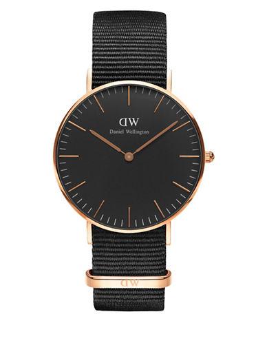 daniel wellington female classic black cornwall 18k rose goldplated stainless steel nato strap watch