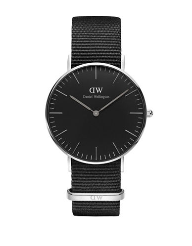daniel wellington female classic black cornwall stainless steel nylon strap watch