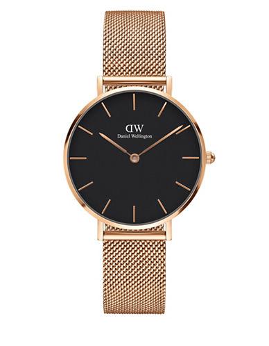 daniel wellington female classic petite stainless steel melrose black dial mesh strap watch