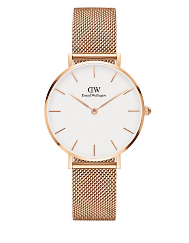 daniel wellington female classic petite stainless steel melrose white dial mesh strap watch