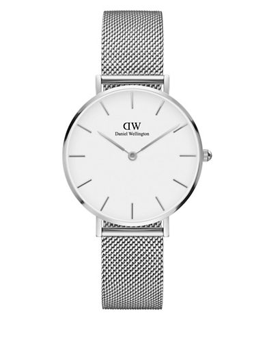 daniel wellington female classic petite stainless steel sterling white dial mesh strap watch