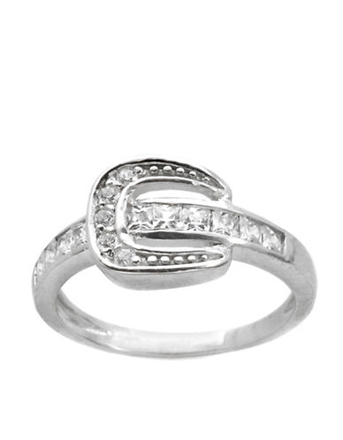 LORD & TAYLOR Sterling Silver and Cubic Zirconia Buckle Ring