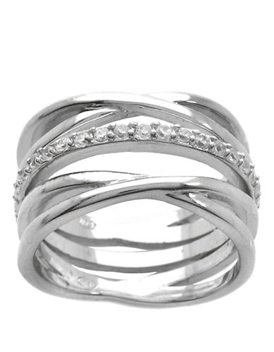 LORD & TAYLOR Silver Tone and Cubic Zirconia Crossover Stacked Ring