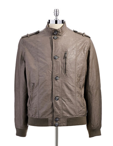 PERRY ELLIS Faux Leather Button Front Bomber Jacket