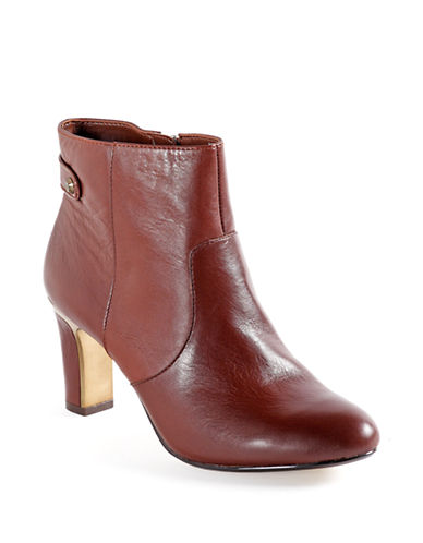 ANNE KLEIN Sukey Leather Ankle Boots