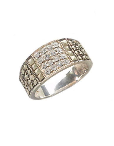 LORD & TAYLOR Sterling Silver And Marcasite Crystal Band Ring