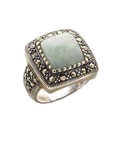 LORD & TAYLORSterling Silver And Marcasite Square Jade Ring
