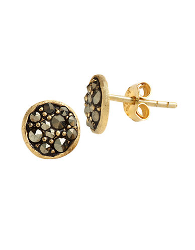 LORD & TAYLOR18 Kt Gold Over Sterling Silver And Marcasite Stud Earrings