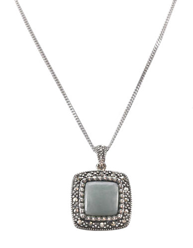 LORD & TAYLORSterling Silver And Marcasite Jade Square Pendant