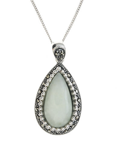 LORD & TAYLOR Sterling Silver And Marcasite Jade Pendant Necklace