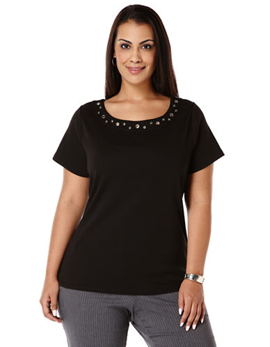 Rafaella Plus Plus Short-Sleeve Grommet Top