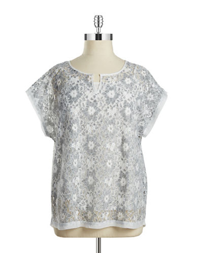 Rafaella Plus Plus Lace Split-Neck Top