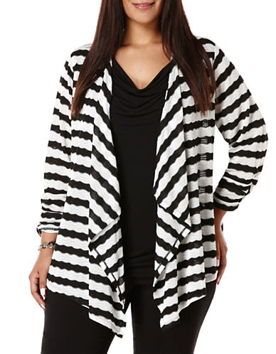 Rafaella Plus Plus Pointelle Striped Cardigan