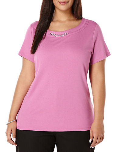 Rafaella Plus Plus Knit Tee with Chain Neck