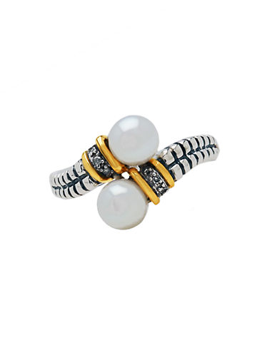 LORD & TAYLOR Sterling Silver and 14 Kt. Yellow Gold Pearl Ring
