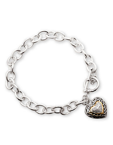 LORD & TAYLOR Sterling Silver Bracelet with Diamond Accented Heart Charm