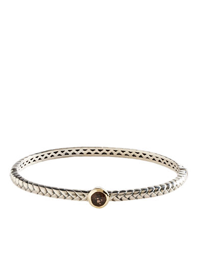 LORD & TAYLOR Sterling Silver and 14 Kt. Gold Smokey Quartz Bangle Bracelet