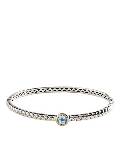 LORD & TAYLORSterling Silver & 14 Kt. Gold Blue Topaz Bangle Bracelet