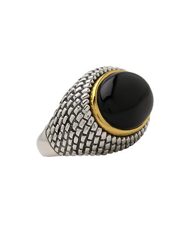 LORD & TAYLOR Sterling Silver and 14 Kt. Yellow Gold Onyx Ring
