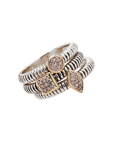 LORD & TAYLORStackable Sterling Silver and 14 Kt. Yellow Gold Rings with Diamond Pave Center