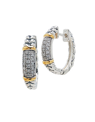 LORD & TAYLORSterling Silver and 14 Kt. Yellow Gold Hoop Earrings with Diamonds .19 CT. T.W.