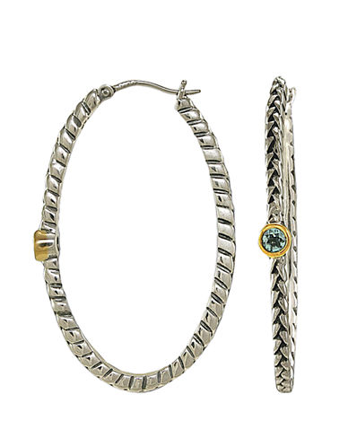 LORD & TAYLOR Sterling Silver and 14 Kt. Gold Blue Topaz Hoop Earrings