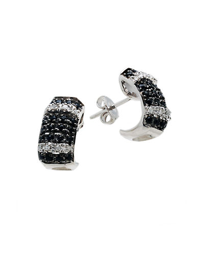 LORD & TAYLORSterling Silver Huggie Earrings with Black Sapphire and Diamonds