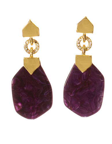 KARA ROSS Gold Tone Amethyst and Crystal Drop Earrings