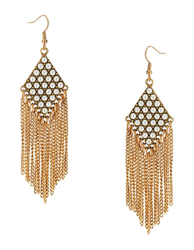 R.J. GRAZIANO Faux Pearl Fringed Drop Earrings