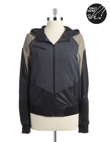 BLANK NYCFaux Leather and Knit Bomber Jacket