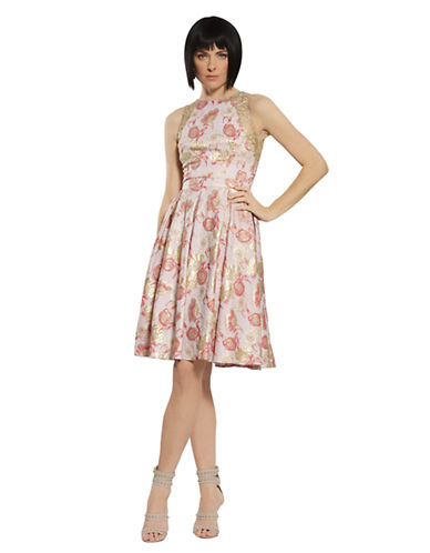 CARMEN MARC VALVOMetallic Floral Print A Line Dress
