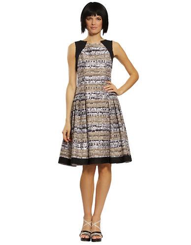 CARMEN MARC VALVOMixed Media Stripe A Line Dress