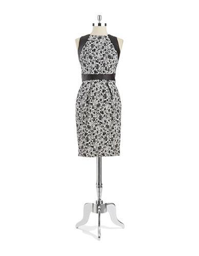 Shop Carmen Marc Valvo online and buy Carmen Marc Valvo Printed Leather Trim Sheath Dress dress online