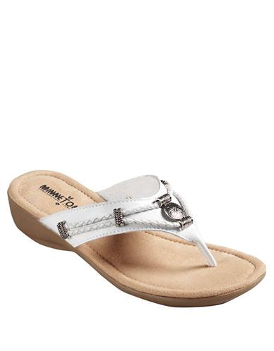 Buy Silverthorne Metal-Detail Wedge Sandals by Minnetonka online