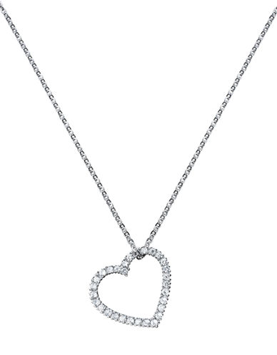 CRISLUPlatinum Finished Sterling Silver and Cubic Zirconia Heart Pendant Necklace