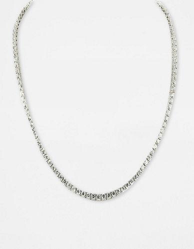 Crislu Platinum-Finished Cubic Zirconia Tennis Necklace
