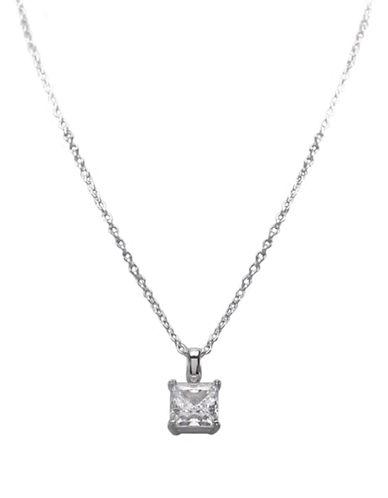 CRISLUPlatinum-Finished Princess-Cut Cubic Zirconia Necklace