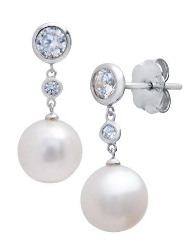 CRISLUSterling Silver Pearl and Crystal Drop Earrings