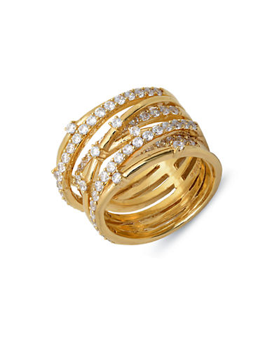 CRISLU 18Kt. Gold & Cubic Zirconia Entwined Ring